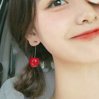 Fashion Women Girl Simulation Sweet Red Cherry Fruit Earrings Ear Stud Jewelry