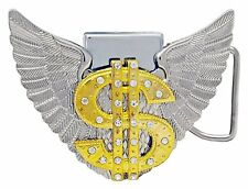 Gold Dollar Sign Belt Buckle Lighter with Chrome Wings