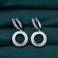 1.60 Ct Baguette Cut D/VVS1 Diamond Dangle Hoop Earrings 14K White Gold Over