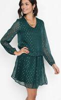 Bodyflirt Green Dress From Curvissa Long Sleeve Short Tunic New Was £35 Size 10