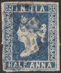 India 1854 QV ½a Deep Blue Die I Used SG4 cat £45 with almost 4 margins