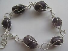 AMETHYST crystals cage wired bracelet in FREE organza bag, REIKI CHARGED,