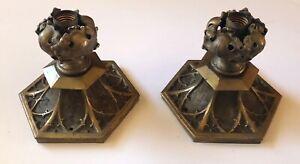 Antique Lighting Ceiling Fixture Flush Mount Brass Ornate Victorian Set of 2