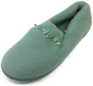Moonbeams Mint Green Rosette Micro Terry Slippers for Women Spring Foam Cushion