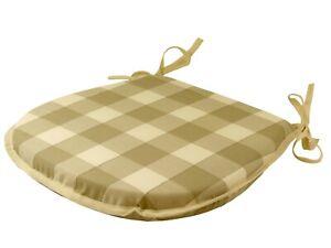 Brixham Linen D-Shaped Garden/Patio/Kitchen/Dining Tie-On seat pads *3 Sizes*