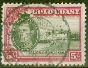 Gold Coast 1938 5s Olive-Green & Carmine SG131 P.12 Fine Used