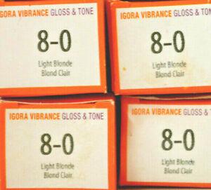 Schwarzkopf Igora Vibrance Gloss & Tone 8-0 Light Blonde Ammonia Free (4 pack)