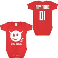 MANCHESTER UNITED FOOTBALL BABYGROW PERSONALISED ANY NAME & NUMBER
