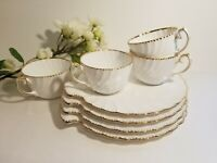 Set of 4 Old Grecian Gold Dot Snack Sets by Gladstone Bone China - England