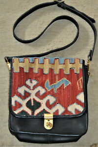 Vintage Turkish Kilim Carpet & Leather Shoulder Bag Purse