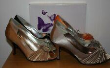 Lunar Elegance Mujer Sienna Peeptoe Satén Formal Boda Tacones Zapatos Nuevo Y En Caja