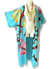 Aqua Plus Size Cardigan Duster Jacket Kimono Maxi Cover up - 2X, 3X, 4X & 5X
