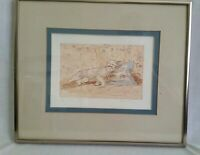 Melody Asbury CT Wildlife Artist Reclined Cat Hand Colored Print #10/200 Framed
