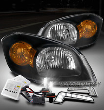 FOR 05-10 COBALT/07+ G5/06 PURSUIT BLACK HEADLIGHT HEADLAMP +LED DRL+6K HID KIT