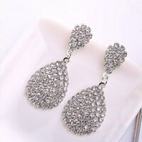 Full Crystal Teardrop Drop Dangle Earrings Women Elegant Banquet Jewelry Gift