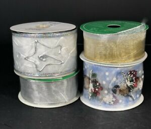 Christmas Ribbon 4 Spools Large Type Silver Gold Blue Multicolor New Wire Edges