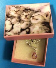 "Avon Pink October Birthstone Necklace Kitten Box VINTAGE NWOT 14"" Extender Girl"