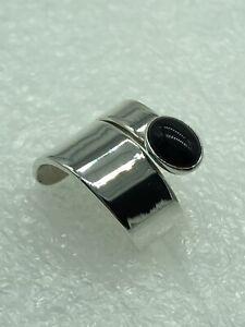 SILPADA Sterling Silver Cabochon Black Onyx Bypass Wrap Ring R094 Sz 6