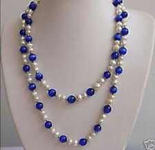 48 inches beautiful White pearl & Blue Opal Necklace 7-8mm & 8mm
