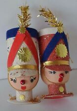 Vintage Christmas Ornament Solider Head Plastic Figure Doll Lot of 2