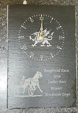 Slate Clock Oblong with Welsh Dragon & horse & sulky