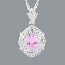 Oval Cut Pink Sapphire 18K White Gold Plated CZ Pendant Necklace Free Chain