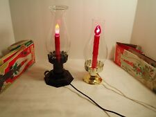 Vintage Christmas Candle Lights Glass Hurricanes 12""