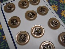 12 Vintage Beige Faux Pearl Buttons Metal Centres 18 mm sew craft scrapbook knit