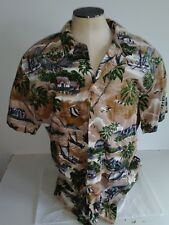Rjc Hawaiian Aloha Camp Button Shirt Fish Palm Boats Palms Size M