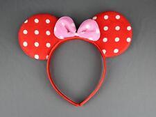 Red Pink minnie mouse ears headband ear hair band costume polka dot mickey