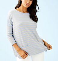 Lilly Pulitzer Cobo Sweater Heathered Crew Blue Coastal Shell XS Striped NEW