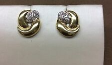 Pave Diamonds 18K yellow gold Earrings set in one wave of 3 waves very pretty