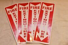"(4) Self-Adhesive Vinyl (4""X12"") ""Fire Extinguisher Arrow"" Signs.New"