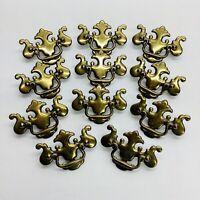"11 Vintage Ornate Brass Drop Handles Drawer Pulls Lot 2.5"" Center To Center"
