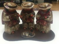 Hand Painted Hand Carved Set of 3 Ecuadorian Musicians with Display Tray