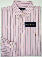 Orig $98 Polo Ralph Lauren Shirt Long Sleeve Men Classic Fit Pink Striped Oxford