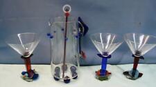 Ponzini Art Martini Glass Set: pitcher w/stirrer plus 3 martini glasses Exc