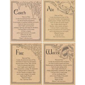 "Four Elements Poster Set 8.5 x 11"" NEW 4 Parchment Prints - One for Each Element"
