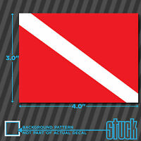 "Diver Down Scuba Flag -4""x3""- vinyl decal sticker self adhesive die cut diving"