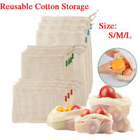 Eco-friendly Reusable Durable Produce Bags Cotton Mesh Storage String Tote Bag