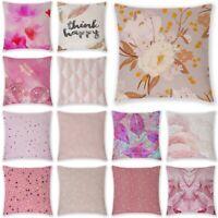 18 Inch Pink Linen Throw Pillow Case Sofa Car Waist Cushion Covers Home Decor