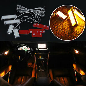 4PCS Yellow Auto Car Door Bowl Handle LED Ambient Atmosphere Light Interior