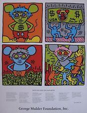 KEITH HARING & ANDY WARHOL: ANDY MOUSE, RARE, SILKSCREEN POSTER, 1986