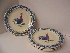 """USA Pfaltzgraff Sunnydale 4 Salad Plates (8"""") Farm Rooster Chicken Blue Gear"""