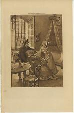 ANTIQUE VICTORIAN WOMAN FAINTING OPEN WINDOWS DAY CURTAIN BED OLD ART PRINT