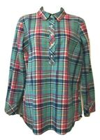 Talbots Women's Blouse Size L Petite Long Sleeve Cotton Plaid Pullover Top