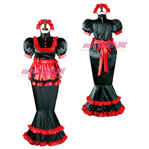 Sissy Maid Satin dress Fish Tail hobble CD/TV Tailor-made!Free shipping1
