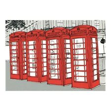 PHONE BOXES-LONDON FOUR IN A ROW TELEPHONE KIOSKS ARTWORK CLAIRE ROLLET POSTCARD