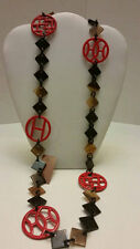 100% Buffalo horn red lacquered chunky link necklace