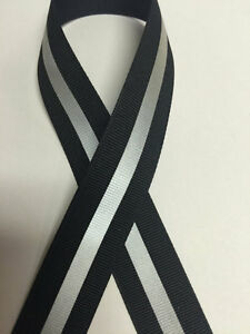 """7/8"""" Black - 1/4"""" 3M Silver Reflective Stripe Grosgrain Ribbon"""